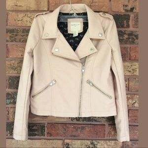Girls S 5/6 Pale Pink Faux Leather Moto Jacket